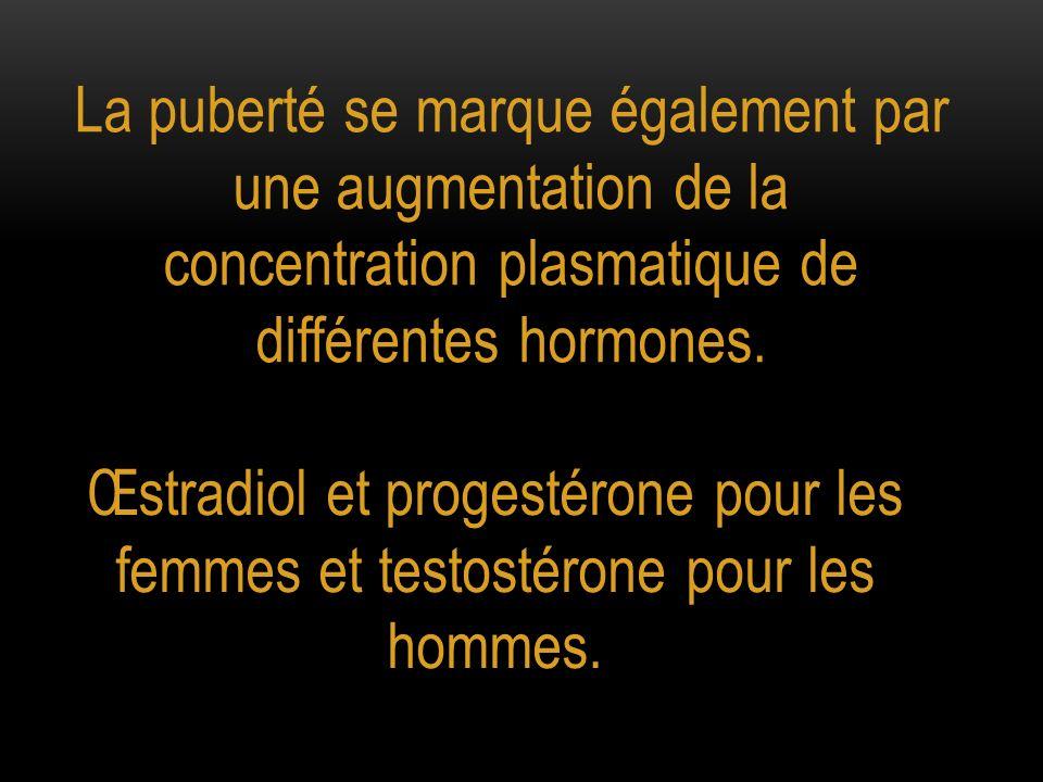 La puberté se marque également par une augmentation de la concentration plasmatique de différentes hormones.