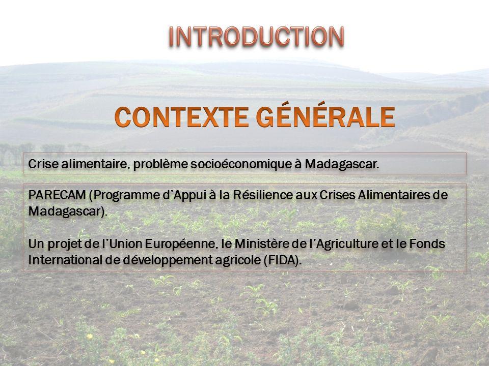 INTRODUCTION CONTEXTE GÉNÉRALE. Crise alimentaire, problème socioéconomique à Madagascar.