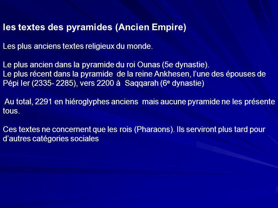 les textes des pyramides (Ancien Empire)