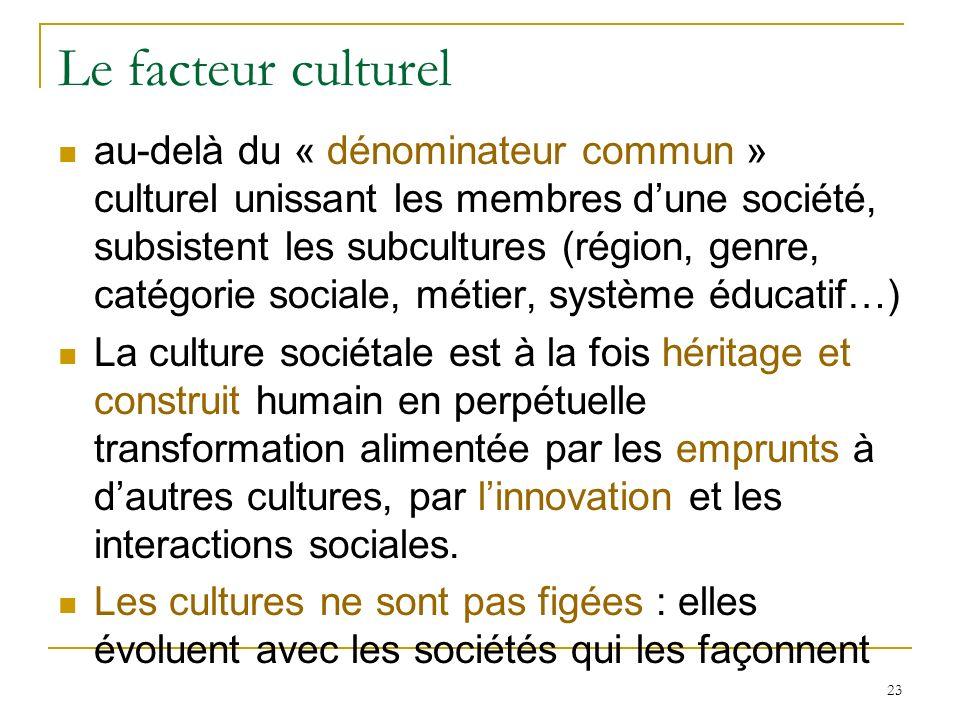 Le facteur culturel