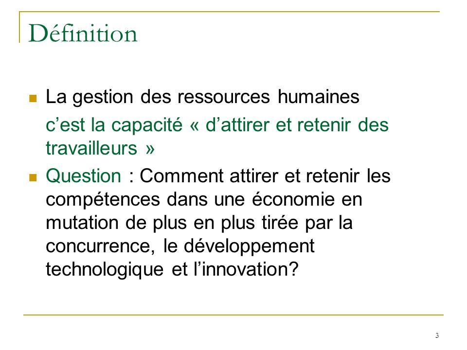 Définition La gestion des ressources humaines
