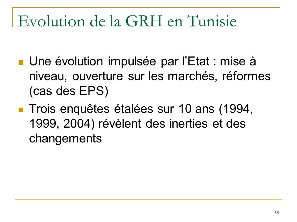 Evolution de la GRH en Tunisie