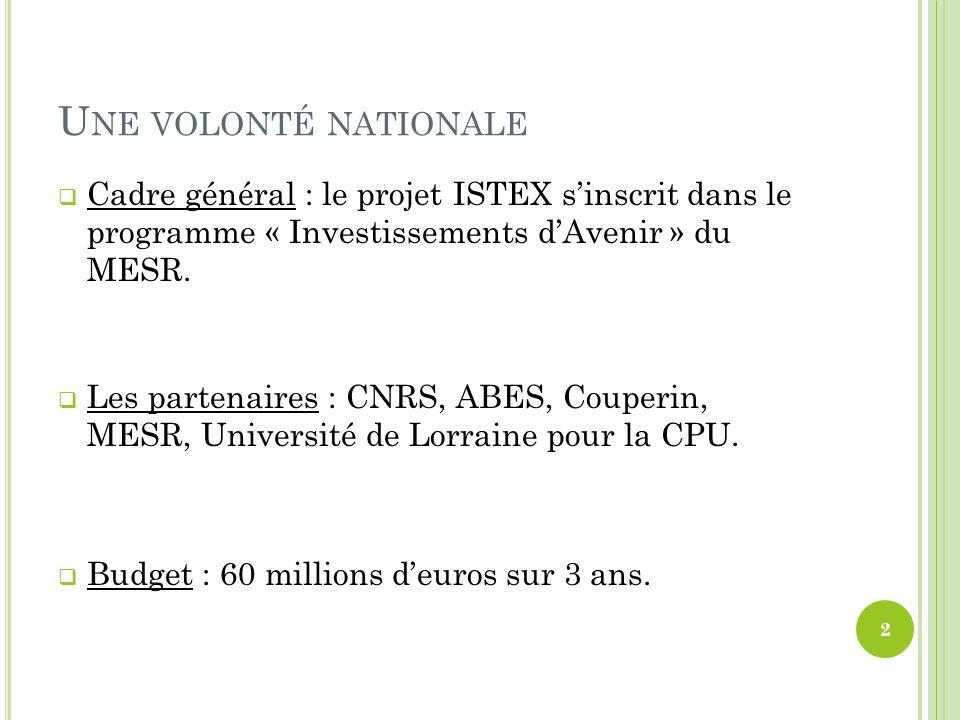 Une volonté nationale Cadre général : le projet ISTEX s'inscrit dans le programme « Investissements d'Avenir » du MESR.