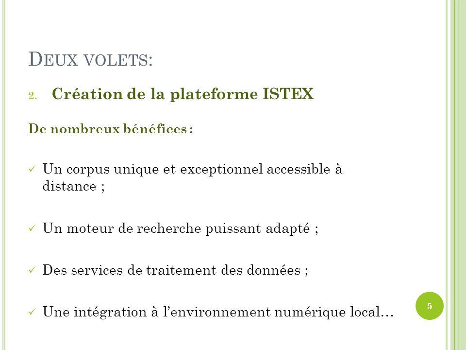 Deux volets: Création de la plateforme ISTEX