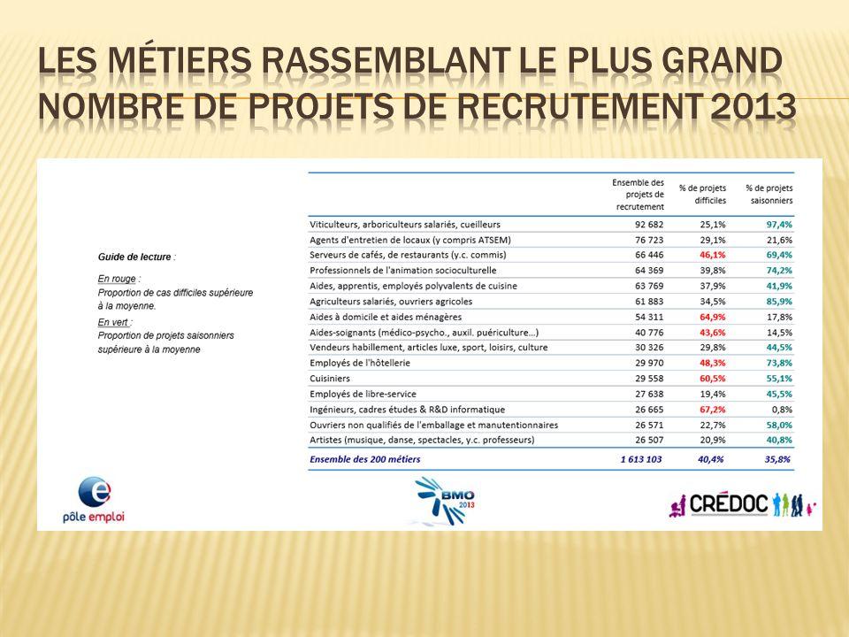 Les métiers rassemblant le plus grand nombre de projets de recrutement 2013