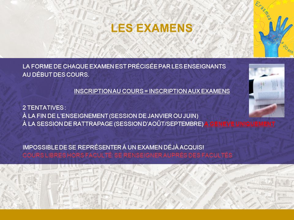 INSCRIPTION AU COURS = INSCRIPTION AUX EXAMENS
