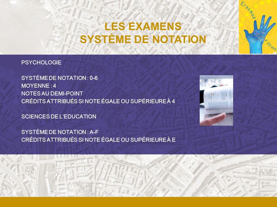 LES EXAMENS SYSTÈME DE NOTATION