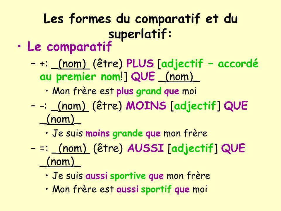 Les formes du comparatif et du superlatif: