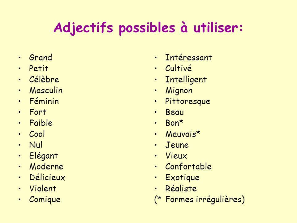 Adjectifs possibles à utiliser: