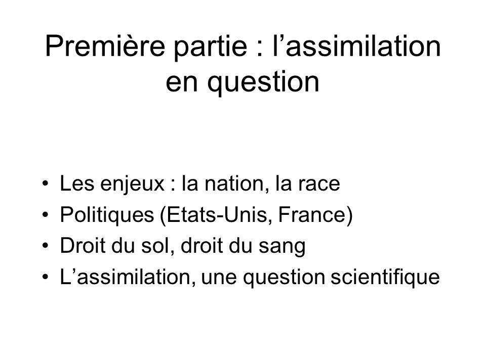 Première partie : l'assimilation en question