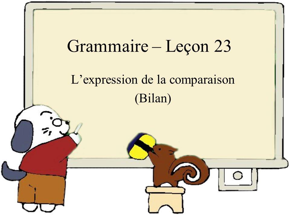 L'expression de la comparaison (Bilan)