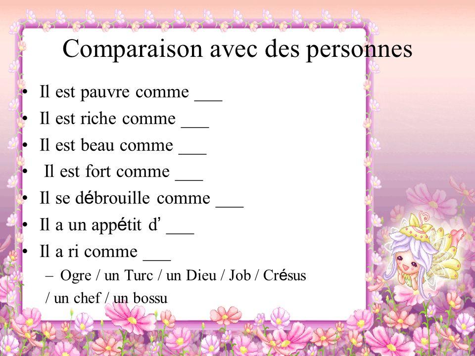 Comparaison avec des personnes