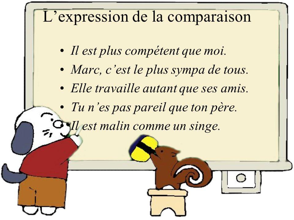 L'expression de la comparaison
