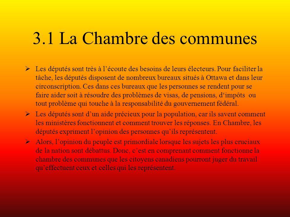3.1 La Chambre des communes