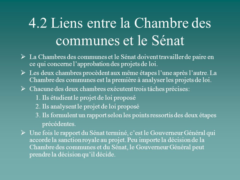 4.2 Liens entre la Chambre des communes et le Sénat