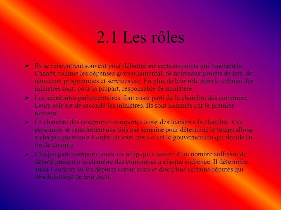 2.1 Les rôles