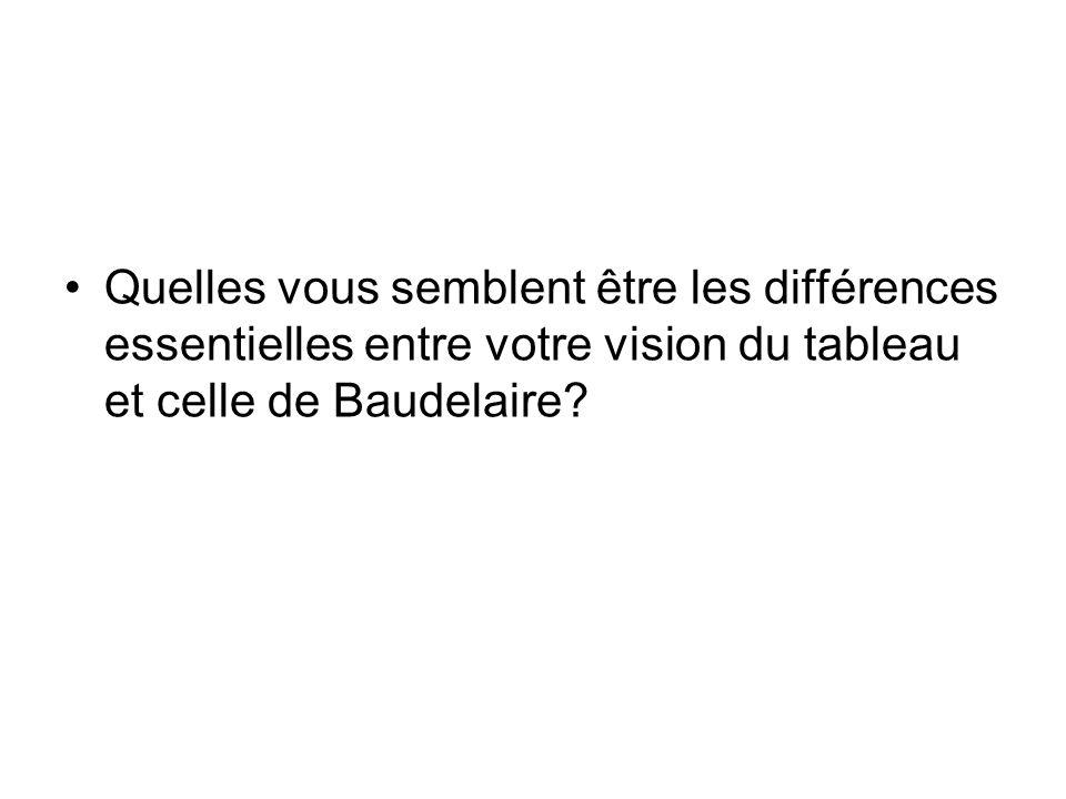 Quelles vous semblent être les différences essentielles entre votre vision du tableau et celle de Baudelaire