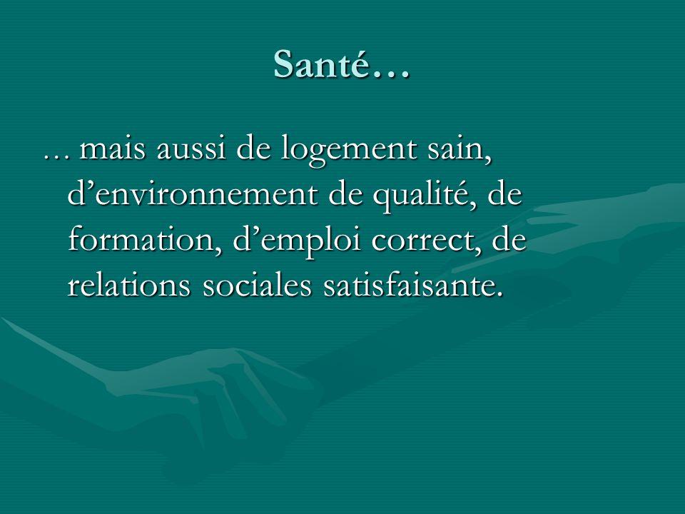 Santé… … mais aussi de logement sain, d'environnement de qualité, de formation, d'emploi correct, de relations sociales satisfaisante.