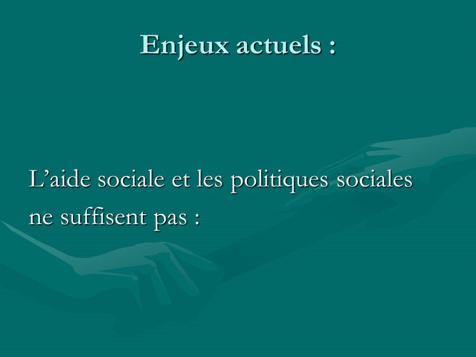 Enjeux actuels : L'aide sociale et les politiques sociales