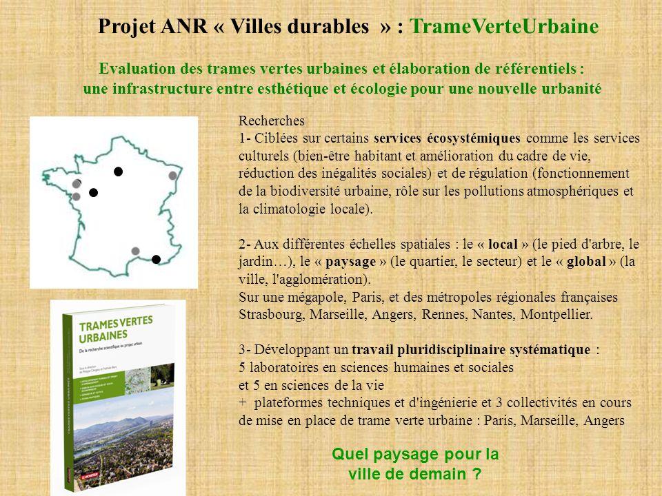 Evaluation des trames vertes urbaines et élaboration de référentiels :