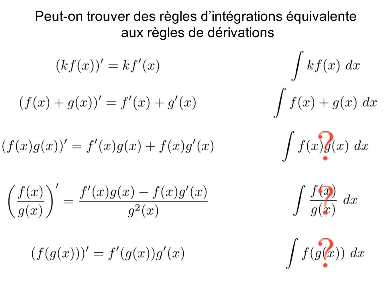 Peut-on trouver des règles d'intégrations équivalente