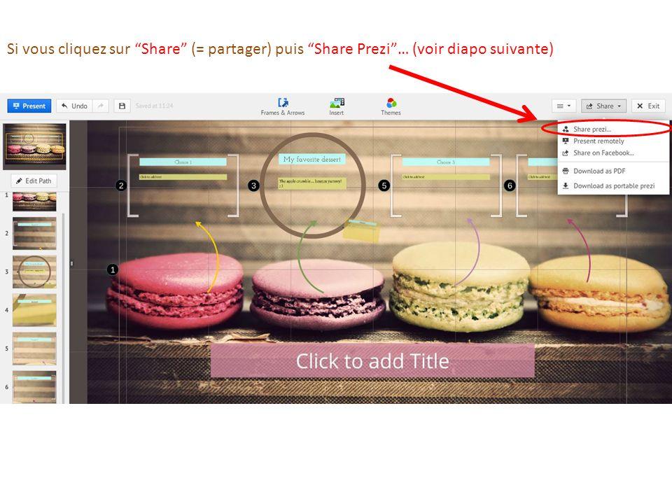 Si vous cliquez sur Share (= partager) puis Share Prezi … (voir diapo suivante)