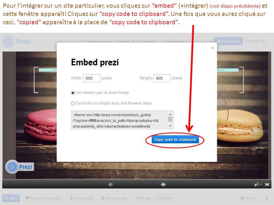 Pour l'intégrer sur un site particulier, vous cliquez sur embed (=intégrer) (voir diapo précédente) et cette fenêtre apparaît.