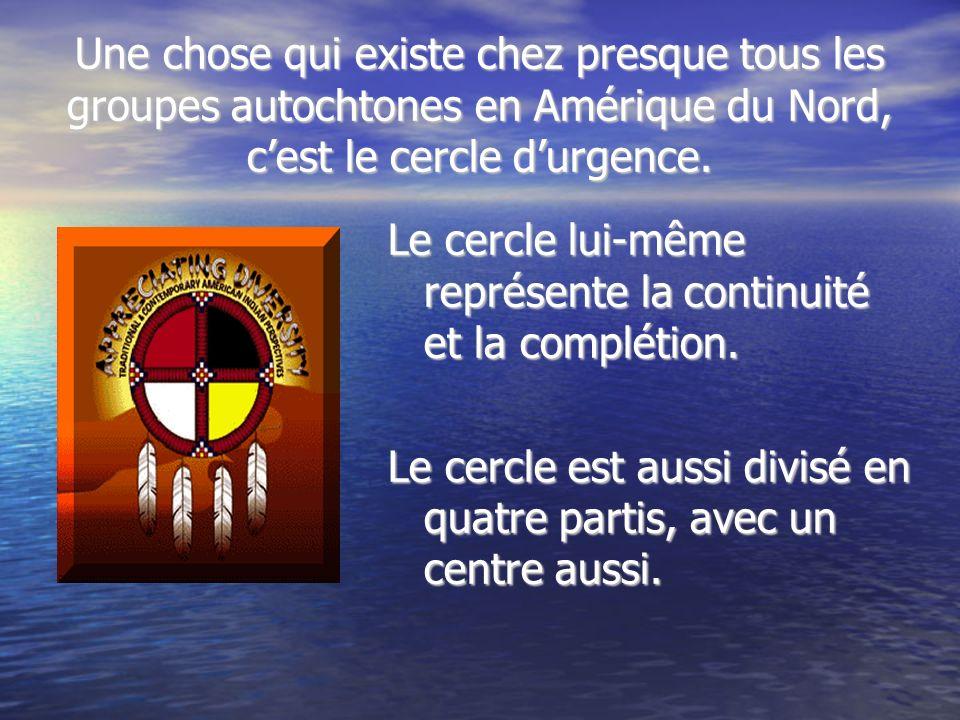 Une chose qui existe chez presque tous les groupes autochtones en Amérique du Nord, c'est le cercle d'urgence.