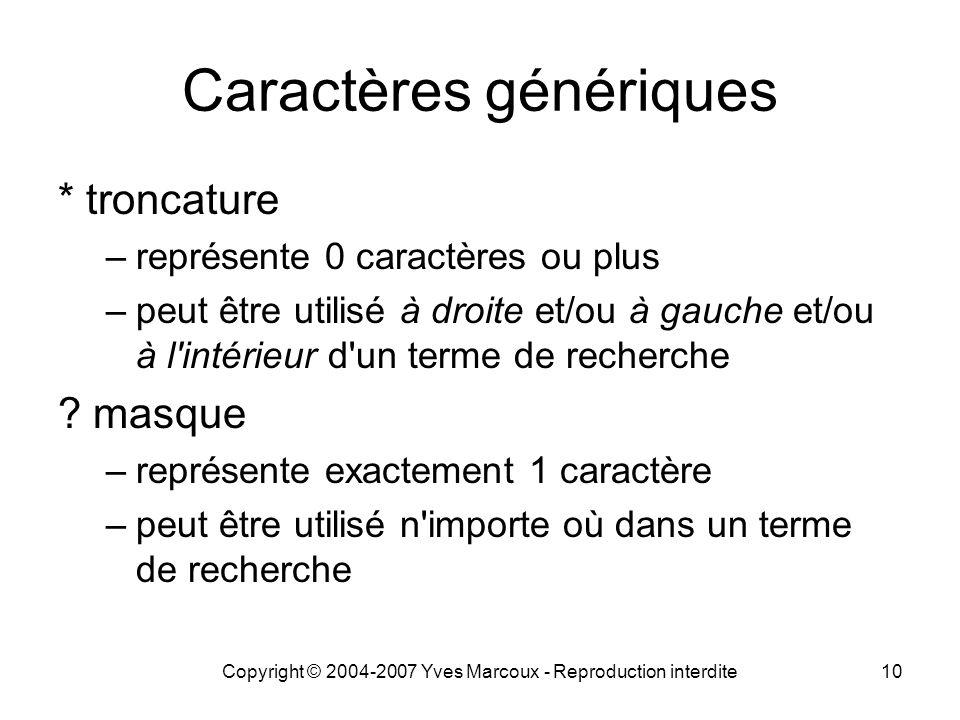 Caractères génériques