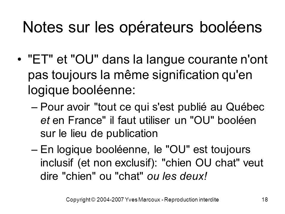 Notes sur les opérateurs booléens