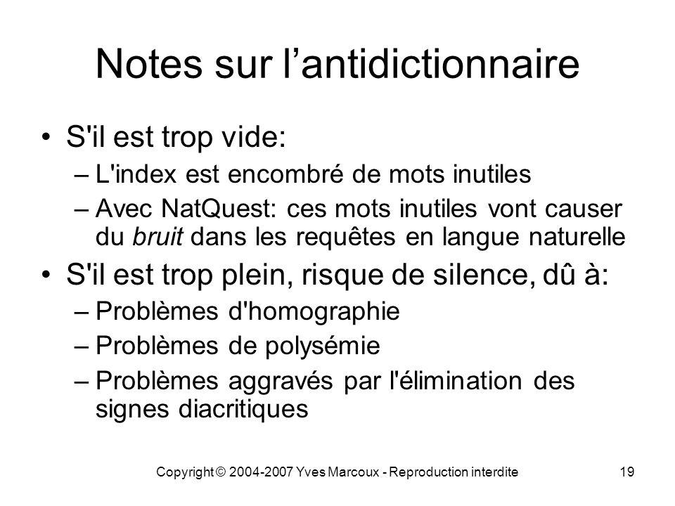 Notes sur l'antidictionnaire