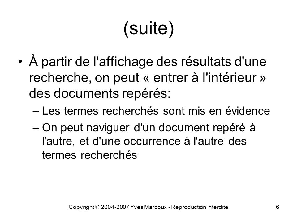 Copyright © 2004-2007 Yves Marcoux - Reproduction interdite