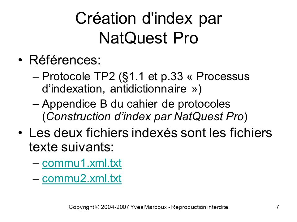 Création d index par NatQuest Pro