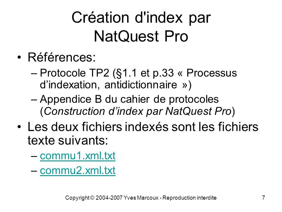 Création d index par NatQuest Pro