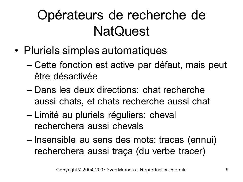 Opérateurs de recherche de NatQuest