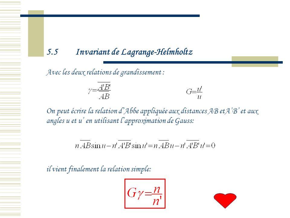 5.5 Invariant de Lagrange-Helmholtz