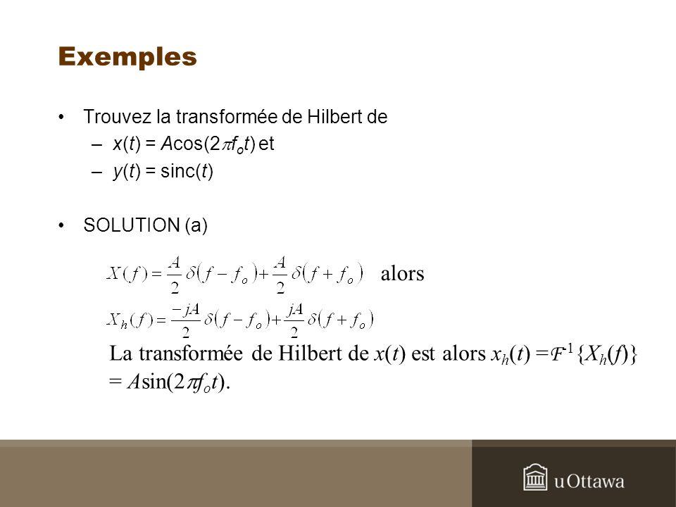 Exemples Trouvez la transformée de Hilbert de. x(t) = Acos(2pfot) et. y(t) = sinc(t) SOLUTION (a)