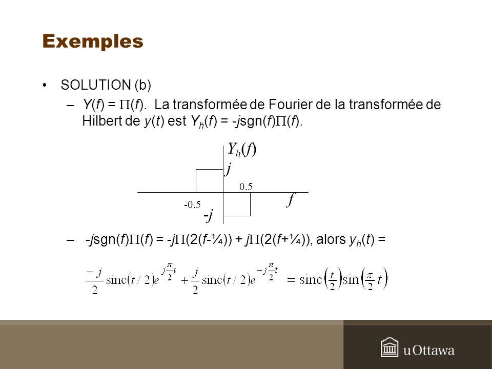 Exemples Yh(f) j f -j SOLUTION (b)