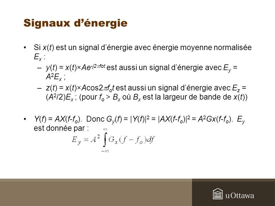 Signaux d'énergie Si x(t) est un signal d'énergie avec énergie moyenne normalisée Ex :