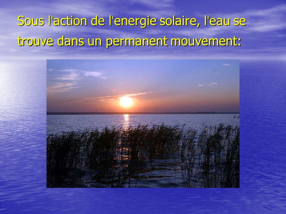 Sous lˈaction de lˈenergie solaire, lˈeau se trouve dans un permanent mouvement: