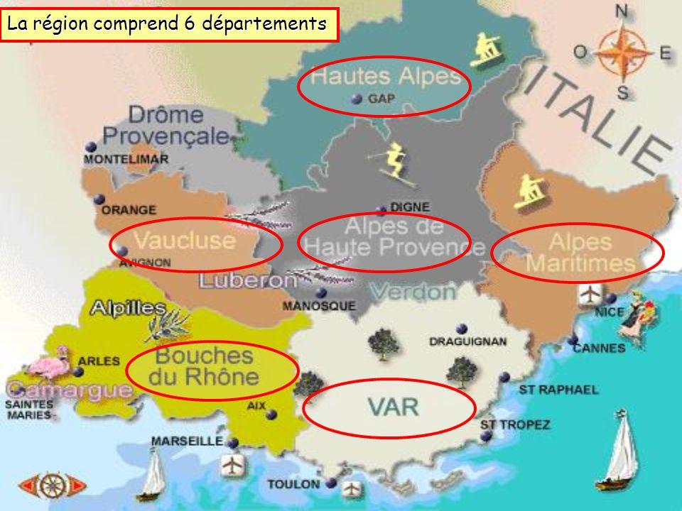 La région comprend 6 départements