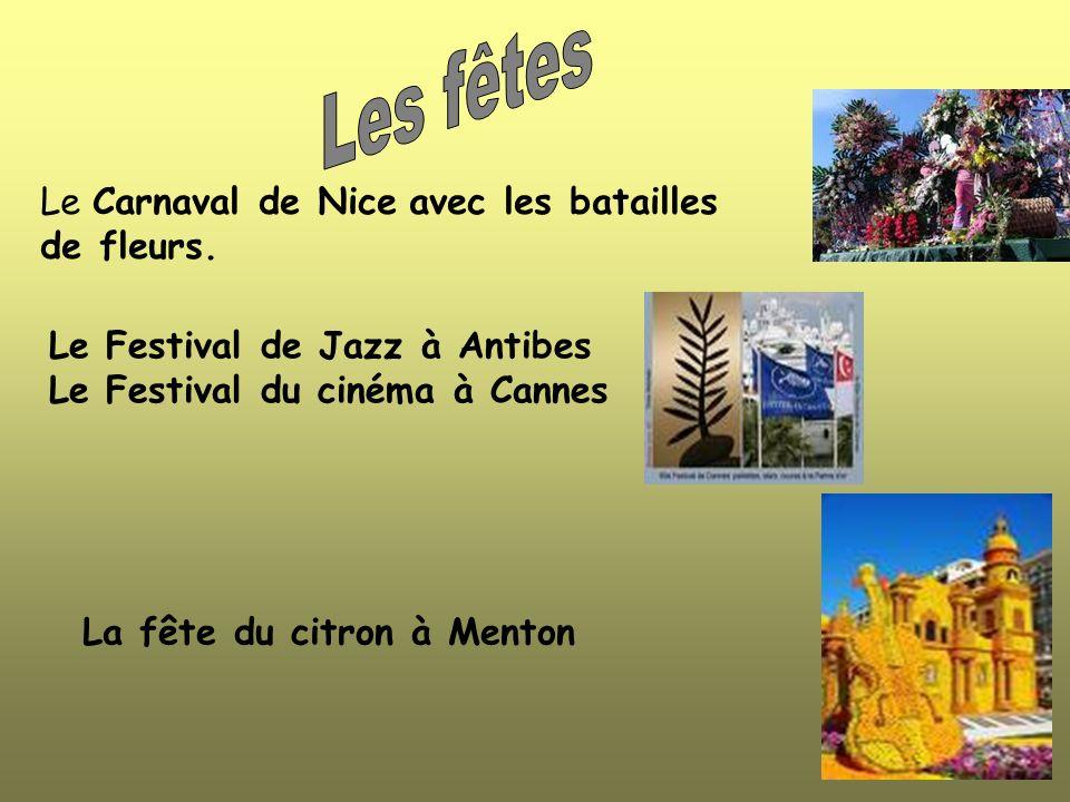 Les fêtes Le Carnaval de Nice avec les batailles de fleurs.