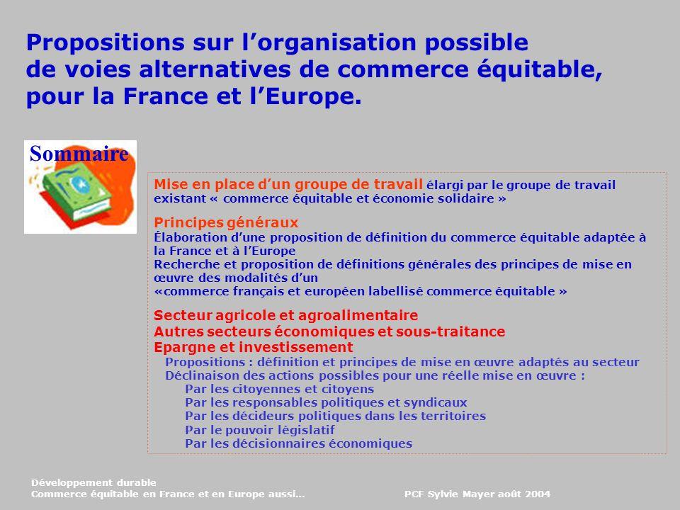 Propositions sur l'organisation possible
