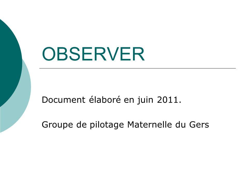 Document élaboré en juin 2011. Groupe de pilotage Maternelle du Gers