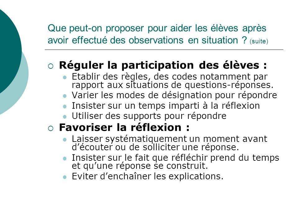 Réguler la participation des élèves :