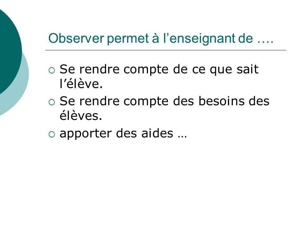 Observer permet à l'enseignant de ….