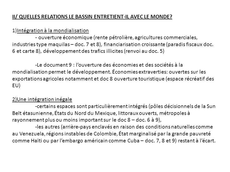 II/ QUELLES RELATIONS LE BASSIN ENTRETIENT-IL AVEC LE MONDE