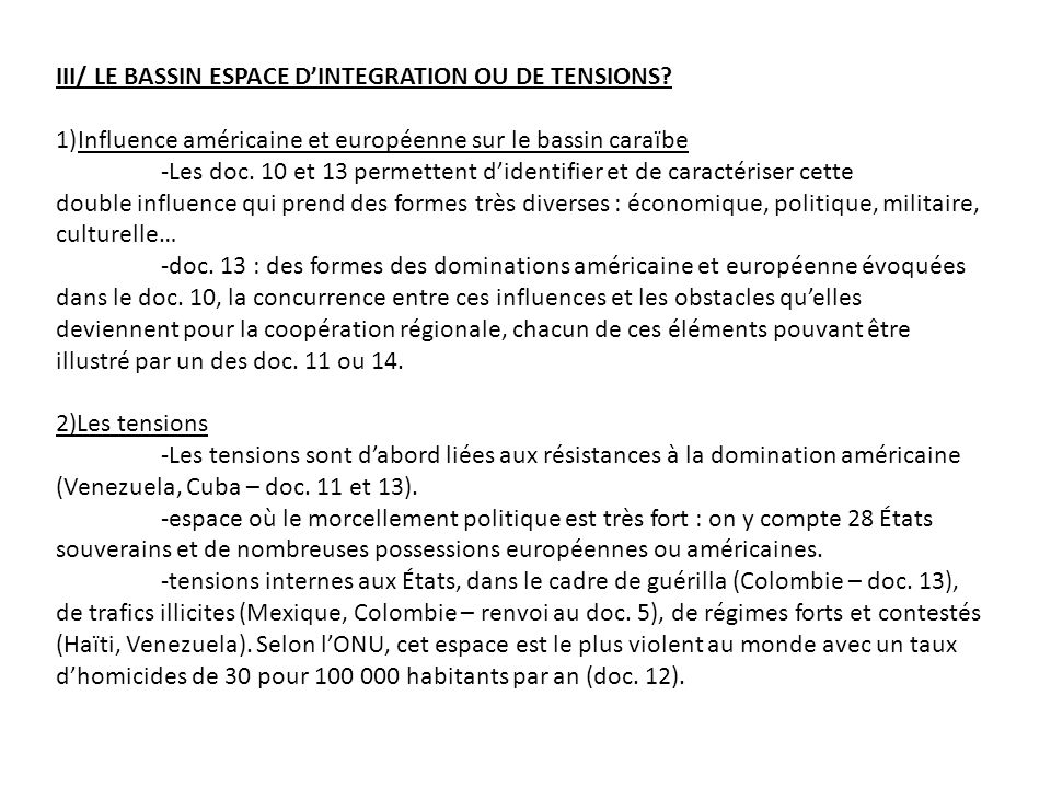 III/ LE BASSIN ESPACE D'INTEGRATION OU DE TENSIONS