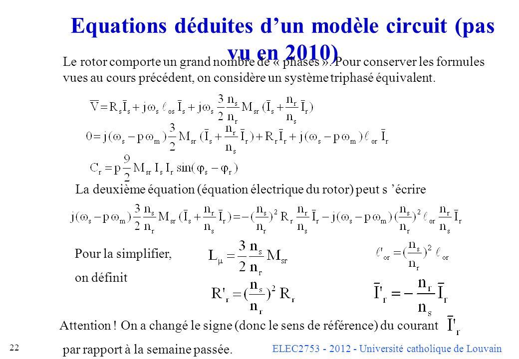 Equations déduites d'un modèle circuit (pas vu en 2010)