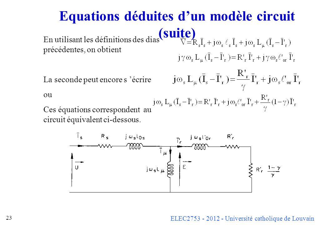 Equations déduites d'un modèle circuit (suite)